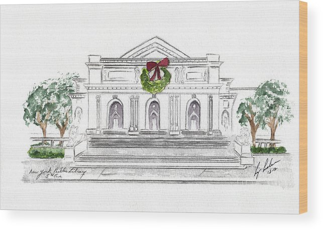 Holiday Wood Print featuring the painting Christmas At The New York Public Library by AFineLyne