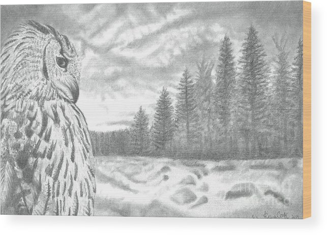 Landscape Wood Print featuring the drawing Eurasian Eagle-owl by Raine Cook