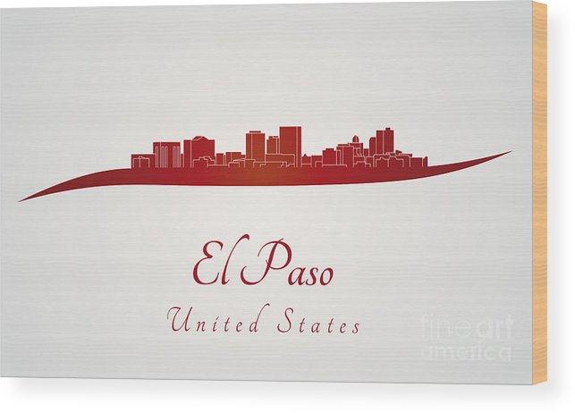 El Paso Skyline Wood Print featuring the digital art El Paso Skyline In Red by Pablo Romero