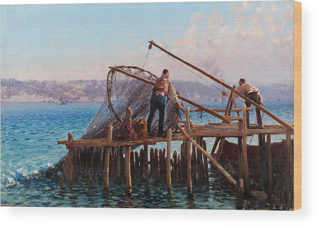 Fausto Zonaro Wood Print featuring the painting Fishermen Bringing In The Catch by Fausto Zonaro
