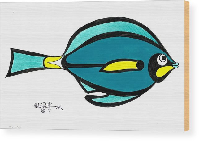 Fish Wood Print featuring the painting Green Angele by Bob Patterson