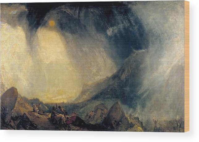 1812 Wood Print featuring the painting Hannibal And His Army Crossing The Alps by JMW Turner