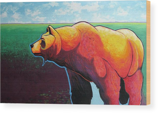 Grizzly Bear Wood Print featuring the painting In His Prime by Joe Triano