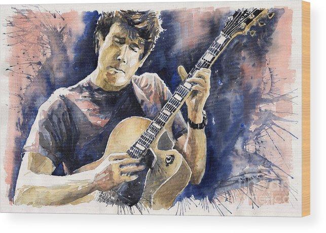 Gutarist Wood Print featuring the painting Jazz Rock John Mayer 06 by Yuriy Shevchuk