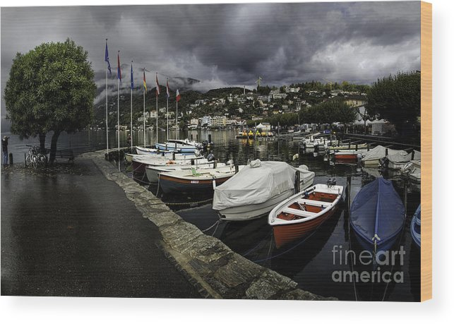 Building Wood Print featuring the photograph Lake Maggiore Boats 1 by Timothy Hacker