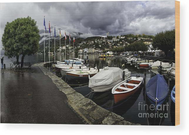 Building Wood Print featuring the photograph Lake Maggiore Boats by Timothy Hacker