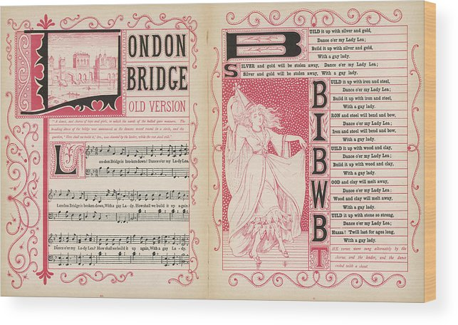 London Wood Print featuring the drawing London Bridge Is Broken Down! Dance by Mary Evans Picture Library