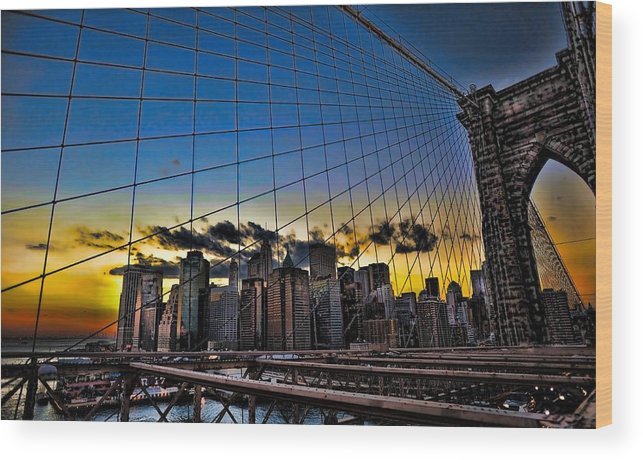 Brooklyn Bridge Wood Print featuring the photograph Net Result by Tony Ambrosio