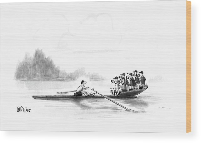 (a Man Rows A Boat By Himself Wood Print featuring the drawing New Yorker May 28th, 1990 by Warren Miller
