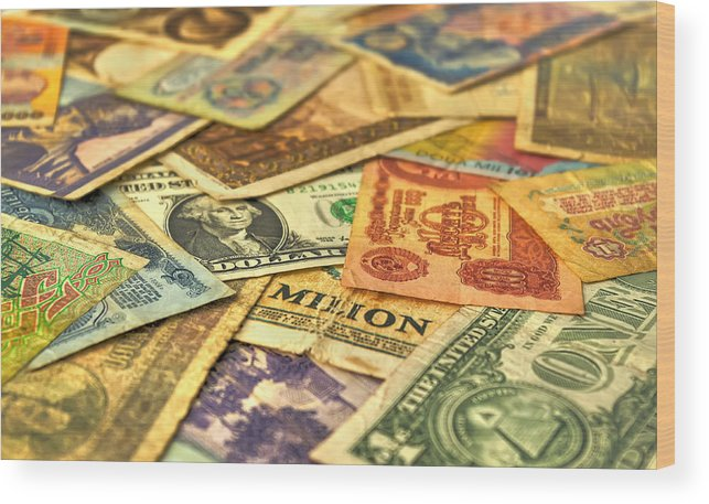 Age; Aged; Ancient; Antique; Background; Banking; Banknote; Business; Cash; Circle; Coins; Collector; Concept; Currency; Design; Detail; Dirty; Dollar; European Currency; Exchange Rate; Finance; Focus; Global; Global Business; History; Interest Rate; Money; Old; Paper; Paper Currency; Retro; Retro Revival; Round; Savings; Soft Focus; Text; Value; Vintage; Wood Print featuring the photograph Old Money by Ioan Panaite