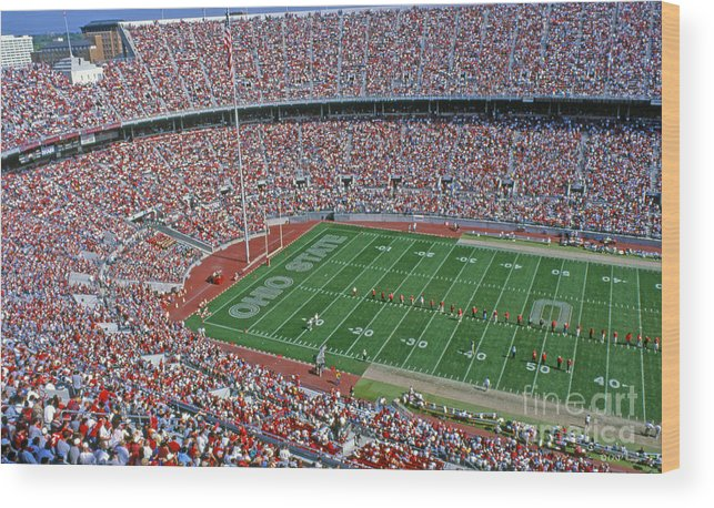 Osu Wood Print featuring the photograph 36l456 Osu Stadium by Ohio Stock Photography