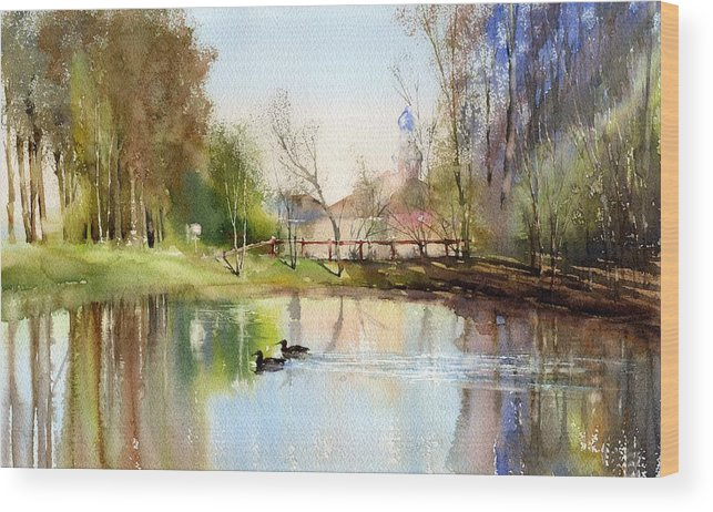 Cityscape Wood Print featuring the painting Pond by Vladimir Tuporshin