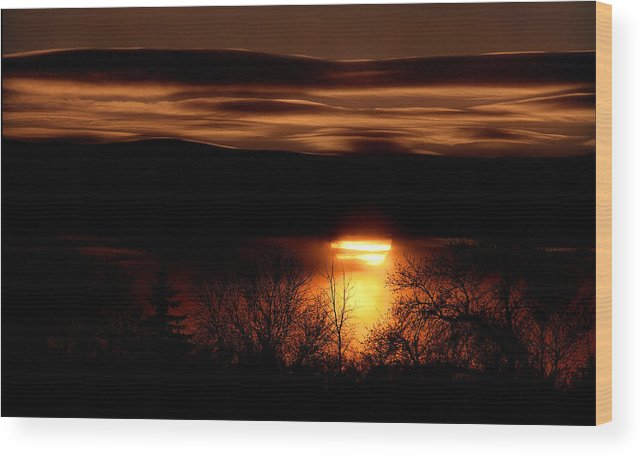 Sunset Wood Print featuring the photograph Prairie Sunset by Bruce Crummy