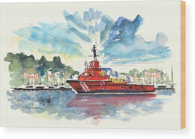 Travel Wood Print featuring the painting Salvage Ship In Cartagena by Miki De Goodaboom