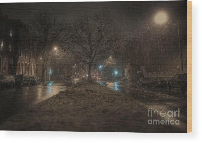 Snow Wood Print featuring the photograph Snowy Nights by Kenny Noddin