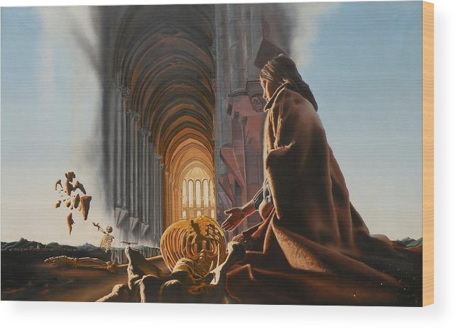 Surreal Wood Print featuring the painting Surreal Cathedral by Dave Martsolf
