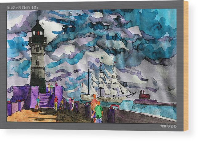Lighthouse Wood Print featuring the painting tall ships at Duluth Harbor by Dennis Weiser