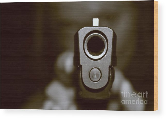 Pistol Wood Print featuring the photograph The Black Hole by Lauren Blazer
