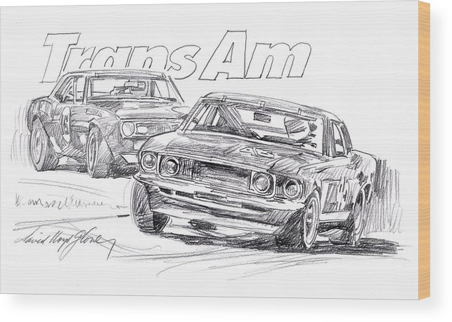 Mustang 302 V8 Wood Print featuring the drawing Trans Am Racing Mustang by David Lloyd Glover