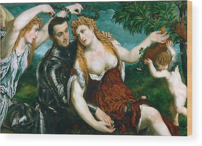 Paris Bordone Wood Print featuring the painting Venus Mars And Cupid Crowned By Victory by Paris Bordone