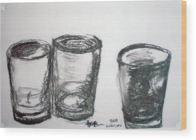 Charcoal Wood Print featuring the drawing Glasses by Jana Barros