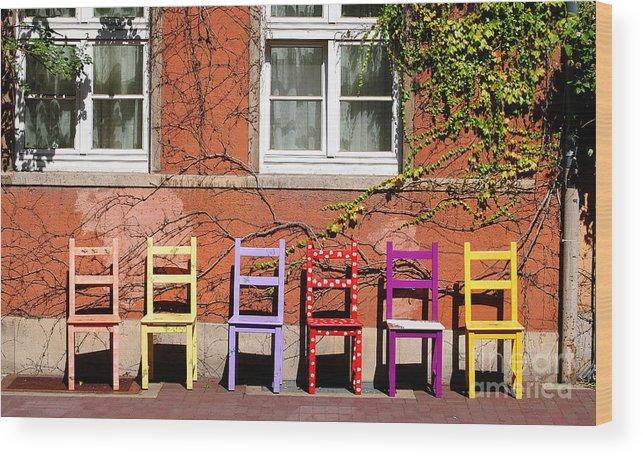 Hamlyn Wood Print featuring the photograph Chairs At Hamlyn by Rob Hawkins