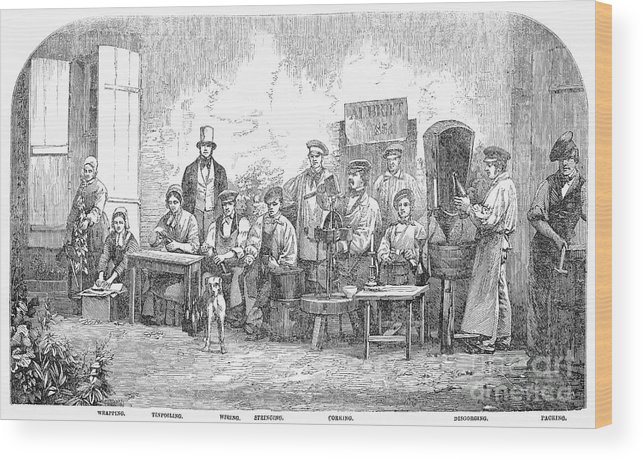 1855 Wood Print featuring the photograph Champagne Production, 1855 by Granger