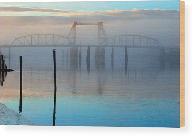 Coquille River Wood Print featuring the photograph Coquille River Bridge Sunrise by Tony and Kristi Middleton