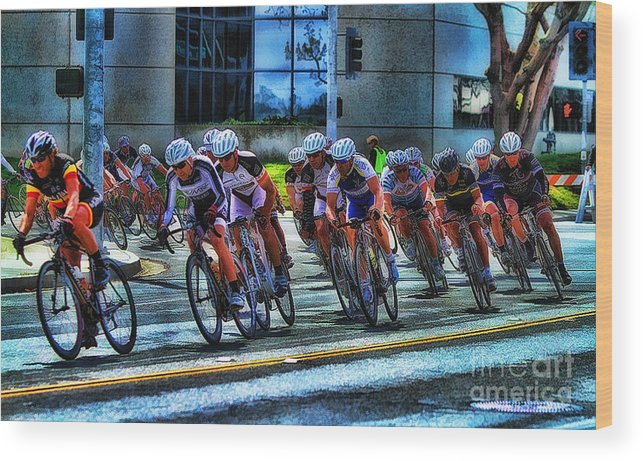Dominguez Hill Wood Print featuring the photograph Dominguez Hill Bikes by Clare VanderVeen