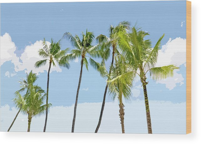 Hawaii Wood Print featuring the painting Hawaiian Palm Trees by Glennis Siverson