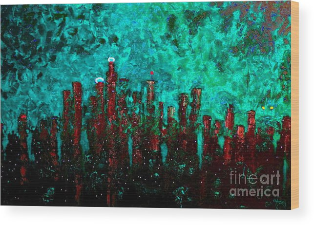 Cityscapes Wood Print featuring the painting Aquatic Angel by Chris Haugen