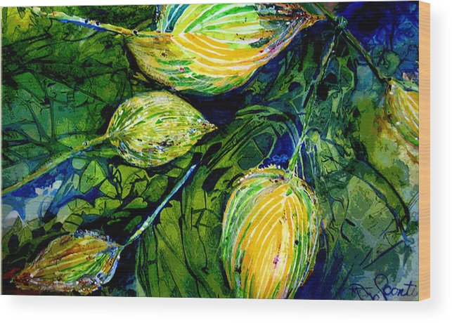 Leaves Wood Print featuring the painting Indriel Blue Hosta by Mary Sonya Conti