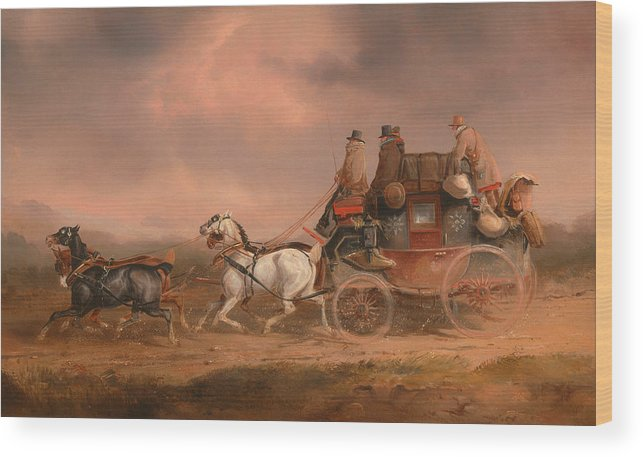 Painting Wood Print featuring the painting Mail Coaches On The Road by Mountain Dreams