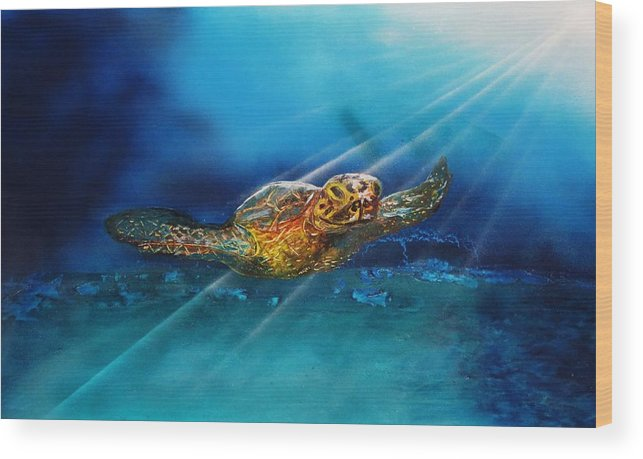Wood Print featuring the painting Sea Turtle by Mario Carta