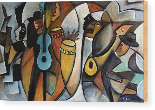 Latin Jazz Musicians Wood Print featuring the painting Jazzz by Valerie Vescovi
