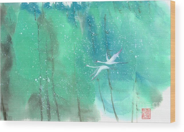 This Is A Contemporary Chinese Ink And Color On Rice Paper Painting With Simple Zen Style Brush Strokes. A Pair Of Graceful Cranes Flying In The Snowy Forest. Wood Print featuring the painting A Quiet Song by Mui-Joo Wee