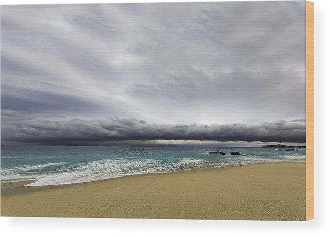 Storm Wood Print featuring the photograph Ahead Of Sandra by Mark Harrington