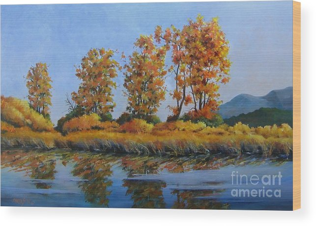 Landscape Wood Print featuring the painting Autumn At Fraser Valley by Marta Styk