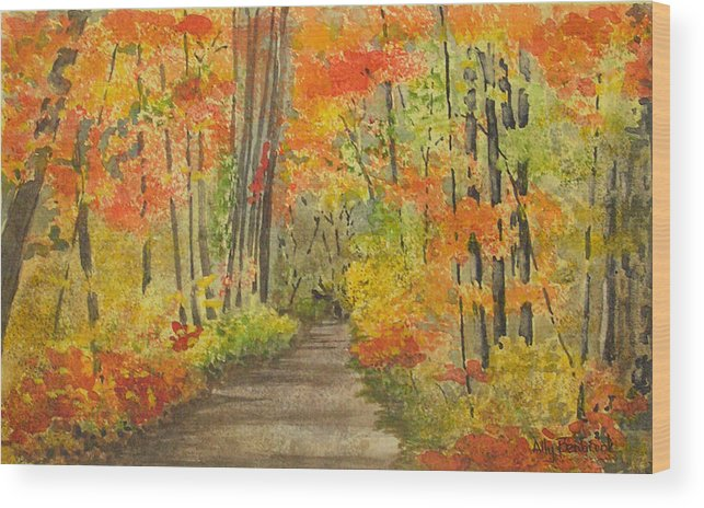 Autumn Wood Print featuring the painting Autumn Woods by Ally Benbrook