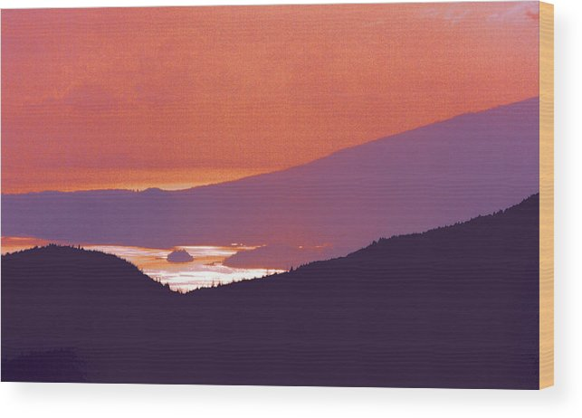 Mountains Wood Print featuring the photograph Back Lit Mountains And Ocean 22 by Lyle Crump
