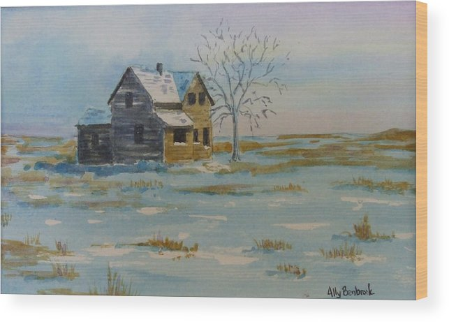 Abandoned Wood Print featuring the painting Barren Prairie by Ally Benbrook