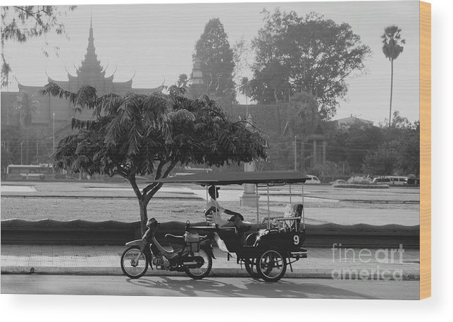 Cambodia Wood Print featuring the photograph Before The Museum by Louise Fahy