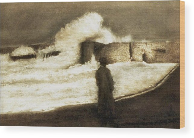 Pastel Wood Print featuring the drawing Biarritz 1909 by Mushtaq Bhat
