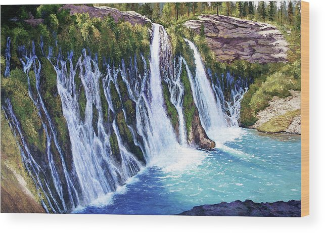 Burney Falls In Northern California Wood Print featuring the painting Burney Falls by Donald Neff