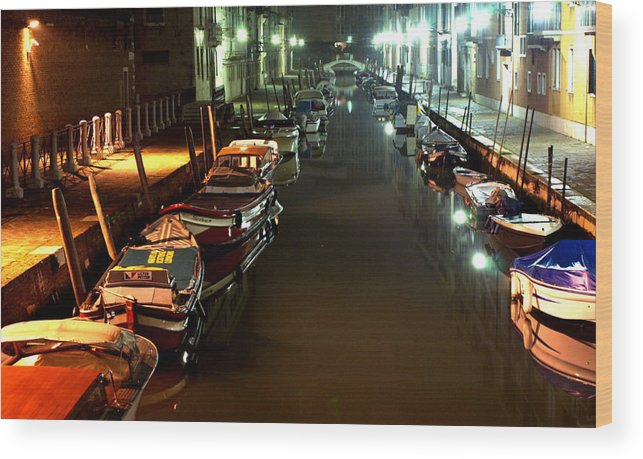 Venice Wood Print featuring the photograph Canal In Venice At Night by Michael Henderson
