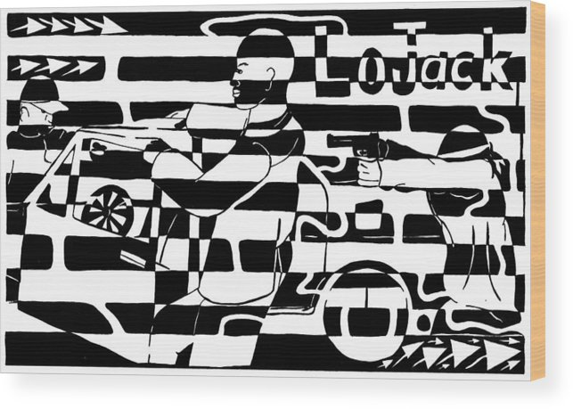 Lojack Wood Print featuring the drawing Car-jacking Maze For Lojack Advert by Yonatan Frimer Maze Artist