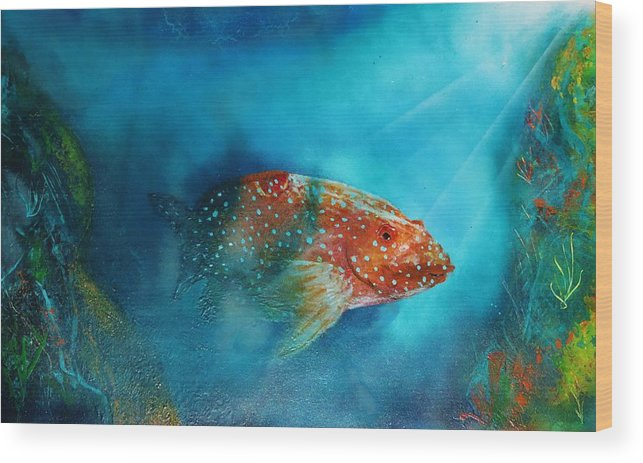Wood Print featuring the painting Coral Trout by Mario Carta