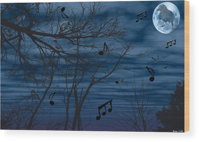 Birds Wood Print featuring the photograph Crow Sings At Midnight by Evelyn Patrick
