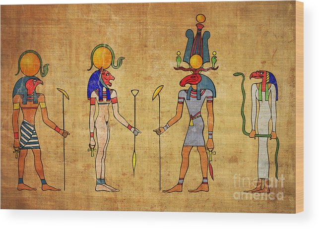 Egypt Wood Print featuring the digital art Egyptian Gods And Goddness by Michal Boubin