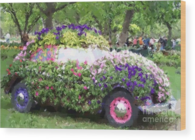 Cars Wood Print featuring the photograph Flower Power by Debbi Granruth